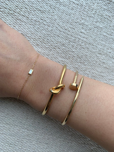 Celine knot bracelet, bronze small size extra thin band - My Grandfather's Things