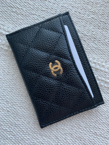 Brand-new Chanel classic card holder in black caviar with gold hardware - My Grandfather's Things