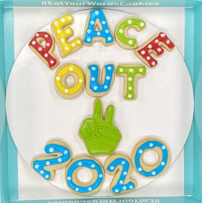 New for 2020! Peace Out 2020 New Year's Cookies