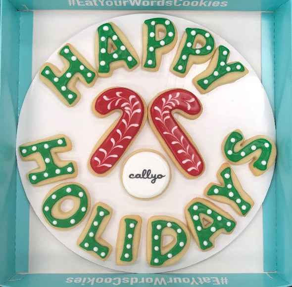 Happy Holidays Cookies with Candy Canes and Logo Cookie
