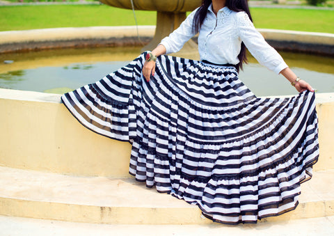 Black/White Stripe Skirt