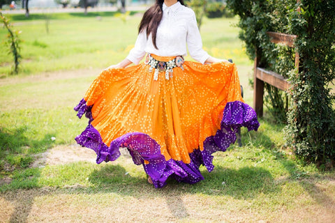 Jaipur white dot Skirt orange/purple