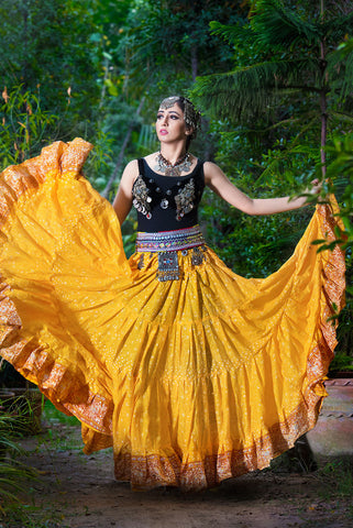 Jodha Maharani Skirt Yellow