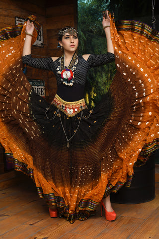 Bollywood skirt mustard brown black with padma border