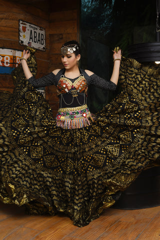 Block print Assuit skirt black/gold with gold border