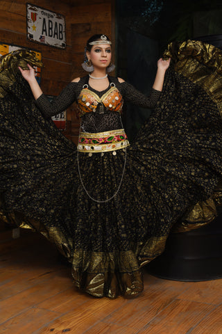 Block print Assuit Maharani skirt black/gold with gold border