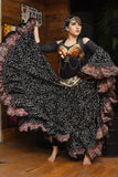 Jodha Maharani Skirt Black with orange border