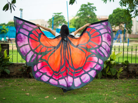 Butterfly Silk ISIS  Wings red/orange/purple