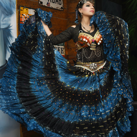 Bollywood skirt blue black