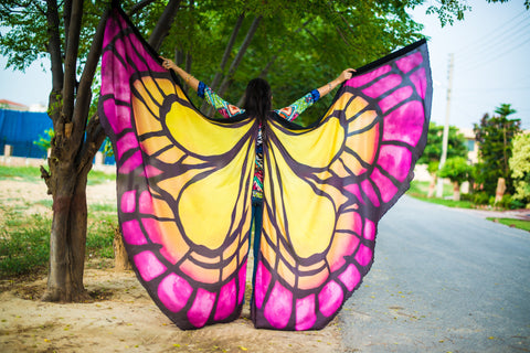 Butterfly Silk ISIS  Wings  yellow/pink