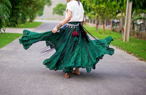 Polka Dot Skirt Green/Black