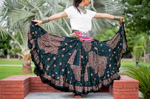 Block print Skirt Brown Green