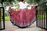 Block print skirt burgundy