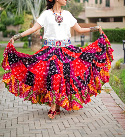 Multi block print skirt hawai