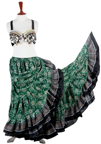 Block Print Skirt Green/black
