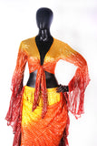 Lurex Tie on top yellow/orange/burgundy