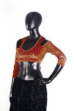 Drop shoulder Velvet Choli Black/orange stripe