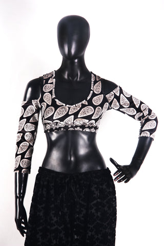 Drop shoulder Velvet Choli Black/white