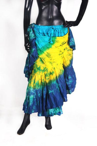 Tie Dye skirt turqouise/yellow/blue