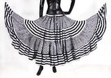 Black/White Stripe Polka Dot Block Print Skirt 25yards