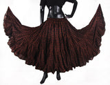 Polka Dot Block Print Skirt 25yards  Chocolate Brown