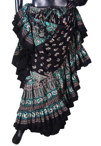 Block print Skirt New Collection 2018 Green /Turquoise