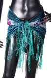 velvet hip scarf Tye Dye Sea Green