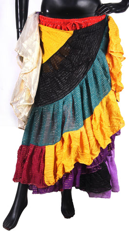 Patchwork Skirt made from Lurex Sari Fabrics
