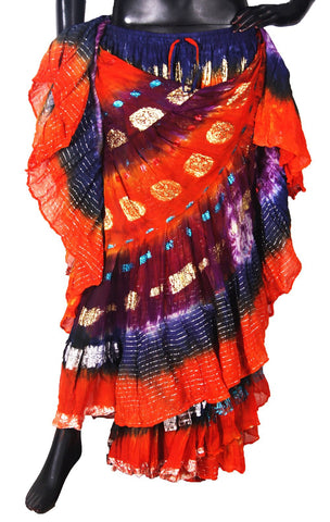 Bollywood skirt Multi Orange / Purple /Blue