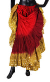 Wow Sari Bindi border Skirt red/burgundy/gold