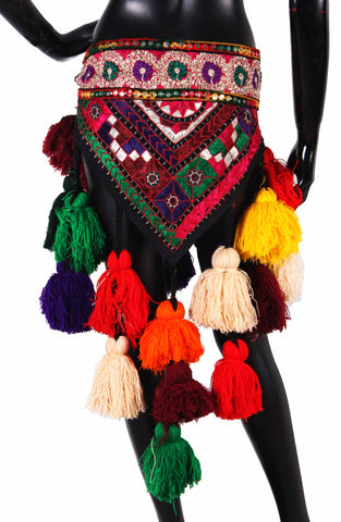 Tribal Multi Colored Embroidery Belt Cum Hipscarf Made From Wool Tassels.