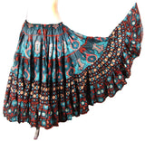 Digital print Skirt  Black /Turquoise