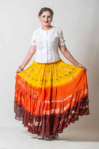 Bollywood skirt  Yellow/Orange/Burgundy