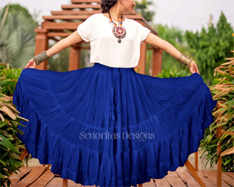 Solid color Skirt dark blue 100% cotton