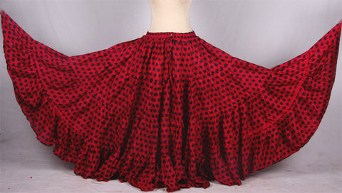 Polka Dot Skirt Block Print Red/Black 25yards