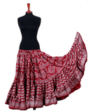Block print assuit skirt burgundy/silver in polyester