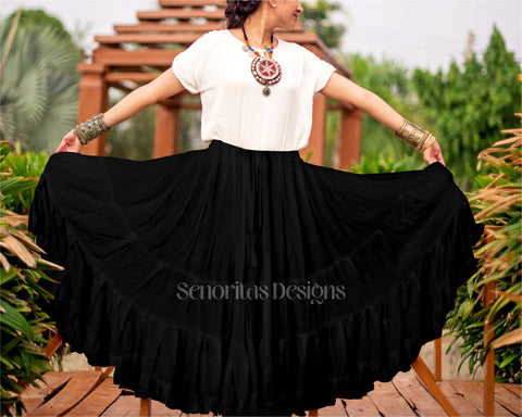 Solid color Skirt black 100% cotton
