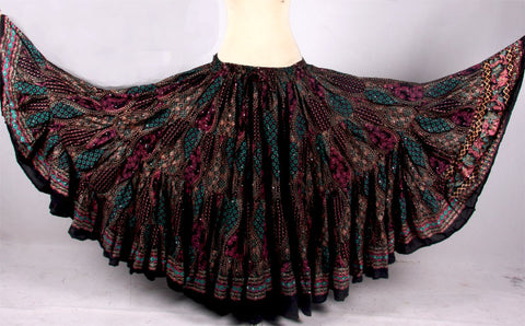 Black Blockprint Skirt