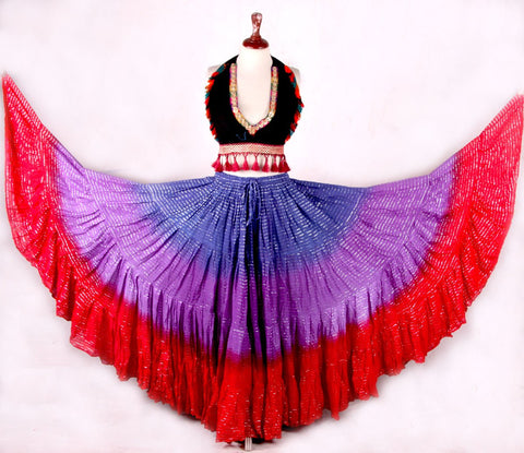 Lurex skirt red/purple/blue