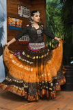 Bollywood skirt mustard brown with padma border