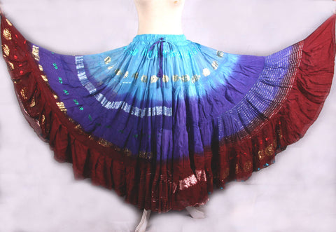 Bollywood skirt turquoise/blue/burgundy