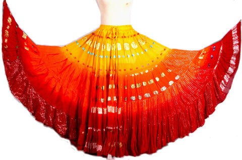 Bollywood skirt red/orange/yellow