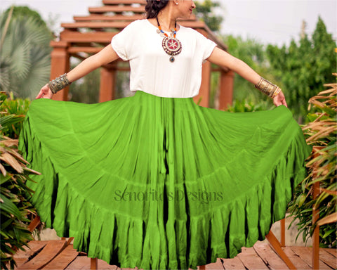 Solid color Skirt green 100% cotton