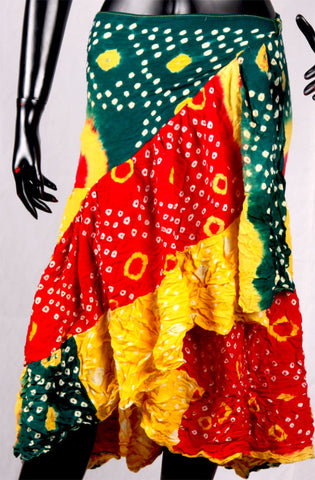 Jaipur Chunri Wrap skirt Green/Red/Yellow