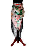 Digital printed Real 8mm Silk Hip scarf cum shawl  with fringe 2020 Collection Floral