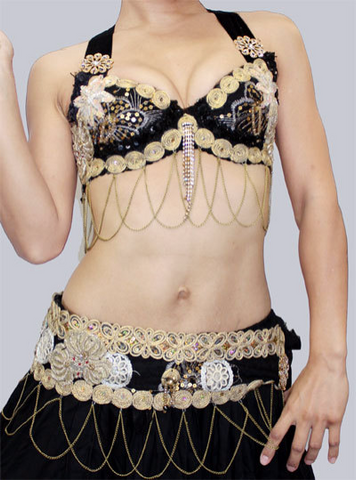 Cleopatra Black Bra belt set