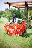 Jaipur Fusion Skirt Orange Burgundy