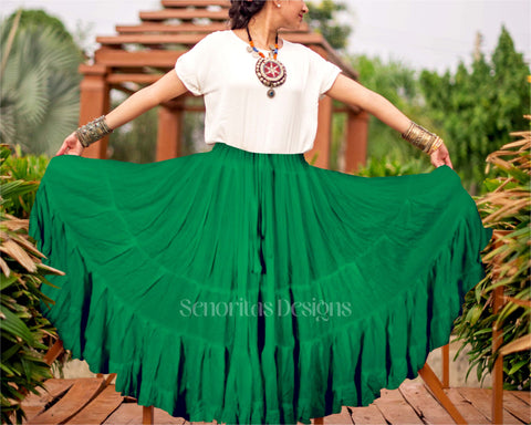 Solid color Skirt dark green 100% cotton
