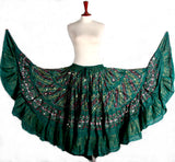 Block  Printed Skirt plus Embroidered With Mirror Green