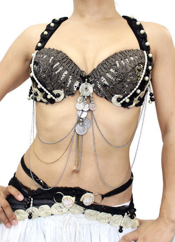 Gothic bra belt set grey/black